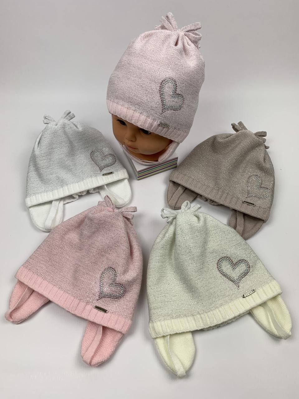 Детские демисезонные вязаные шапки для девочек оптом, р.46-48, Grans (ku468)