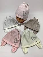 Детские демисезонные вязаные шапки для девочек оптом, р.46-48, Grans (ku468), фото 1