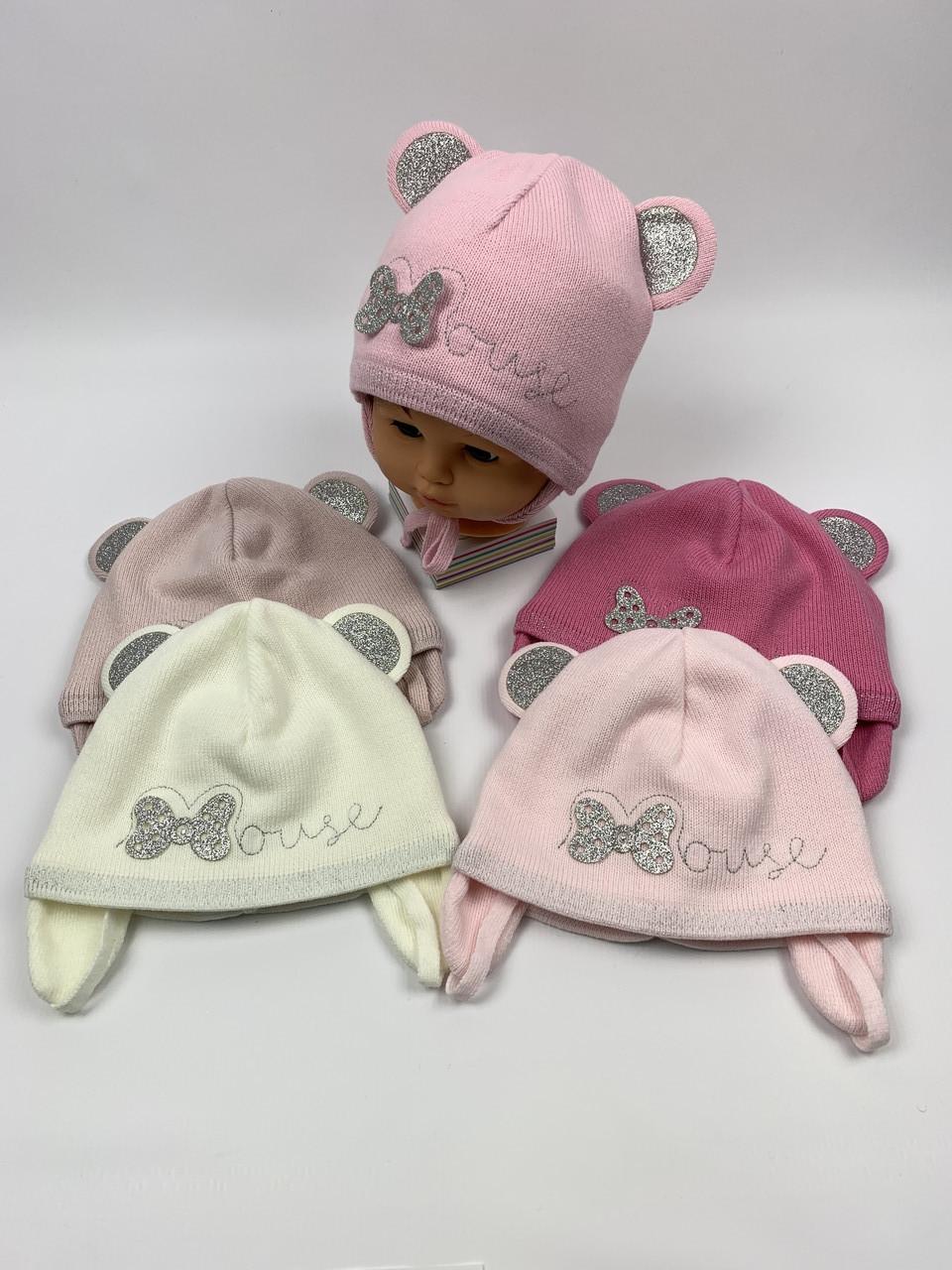 Детские демисезонные вязаные шапки для девочек оптом, р.46-48, Grans (ku384)