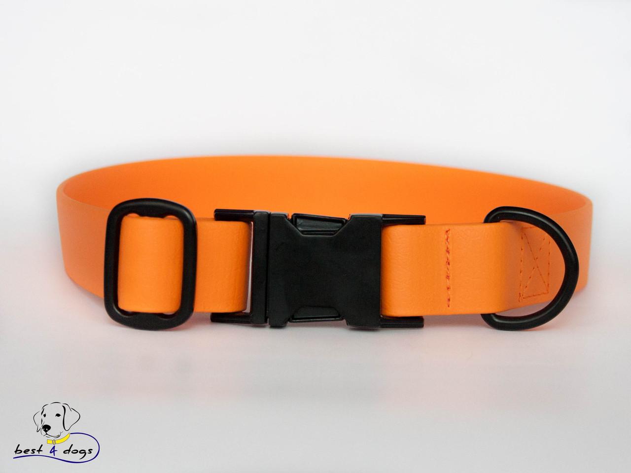 Ошейник из биотана, Оранжевый Пастельный, 25мм(с черным фастексом)