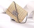 Мини сумка из соломы фурнитура серебро #1648 Бежевый, фото 4
