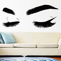 Интерьерная наклейка на стену Реснички (люди глаза брови декор для салона красоты пленка) матовая 1500х630 мм