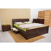 Кровать Олимп Сити с ящиками филенка массив бука