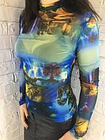 Гольф жіночий сітка синій 42-46