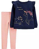 Красивый комплект - пуловер на флисовом начесе и лосины Картерс для девочки