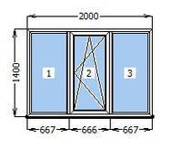Окно металлопластиковое 2000 х 1400 мм