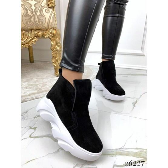 Женские черные замшевые деми ботинки, кроссовки, жіночі демі черевики кросівки замшеві шкіряні, нат замш