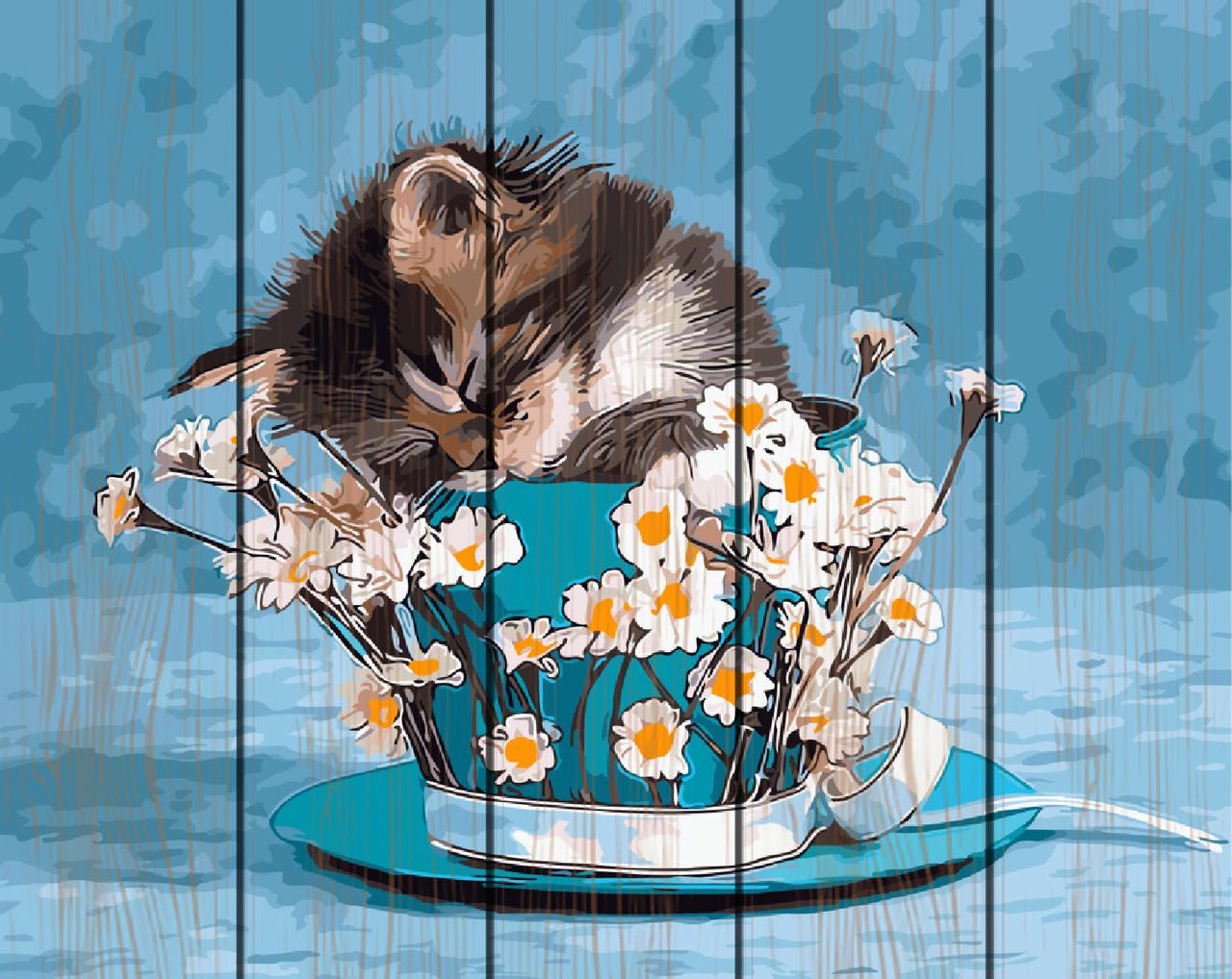 Картина по номерам на дереве 40*50см. Котенок в ромашках Rainbow Art GXT9251 в подарочной коробке