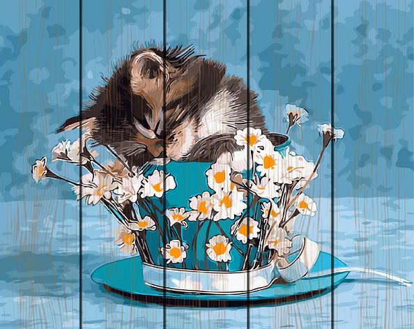 Картина по номерам на дереве 40*50см. Котенок в ромашках Rainbow Art GXT9251 в подарочной коробке, фото 2