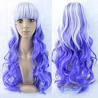 Длинный парик - 80см, серо-фиолетовый, волнистые волосы с прямой челкой, косплей, анимэ