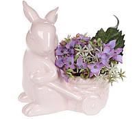 Декоративная фигурка-кашпо Кролик с тележкой 16см, цвет - розовый 739-717