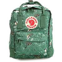 Рюкзак городской стильный Fjallraven Kanken Art 16л зеленый с енотами