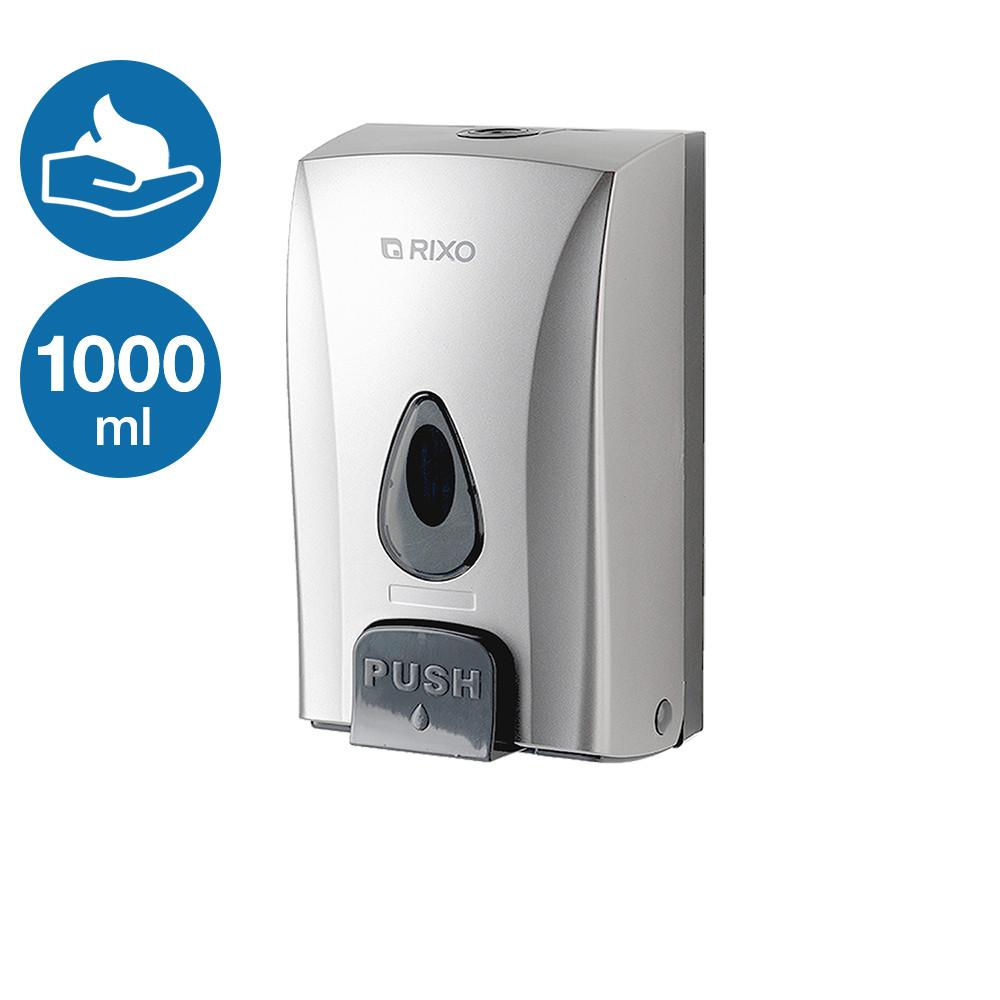 Дозатор раздатчик мыла-пены ударопрочный 1000 мл Rixo Maggio BPS188S серебристый пластиковый настенный