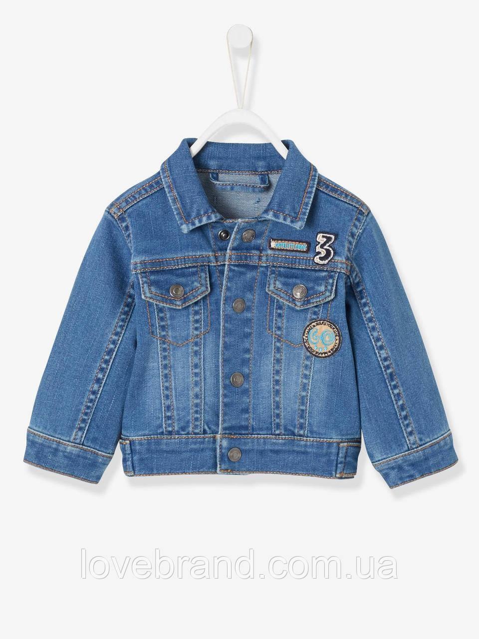 Детская джинсовая курточка для малыша Vertbaudet (Франция) ,для  мальчика 18 мес/80 см