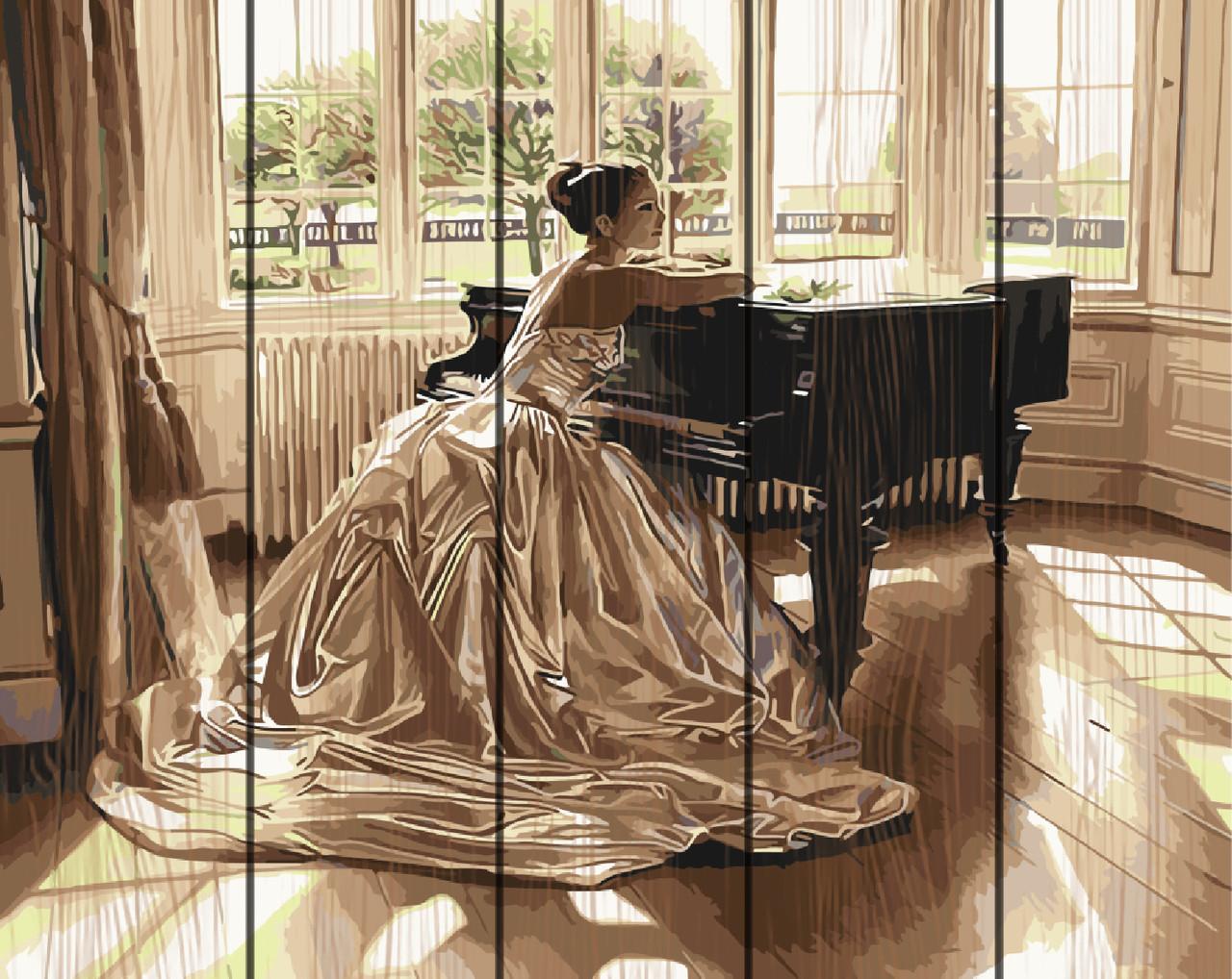 Картина по номерам на дереве 40*50см. Девушка за роялем Rainbow Art GXT9844 в подарочной коробке
