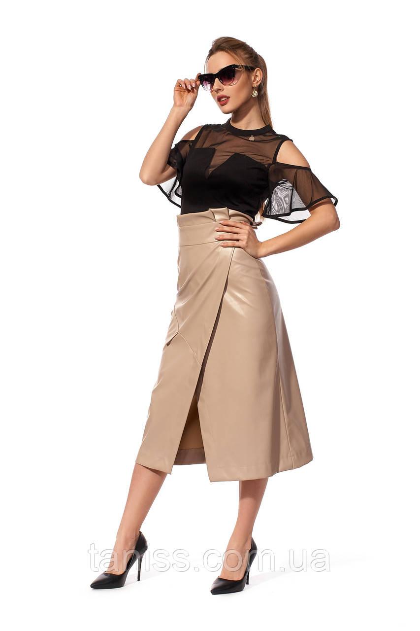 Женская,стильная,спортивная,повседневная юбка , ткань эко кожа, размеры 42,48 (235.1)бежевый