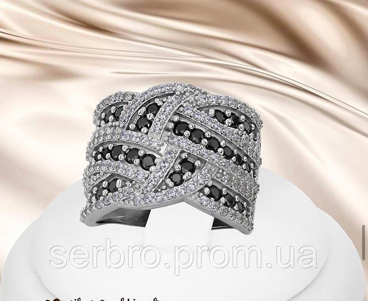 Серебряное кольцо с черными цирконами Эми