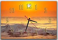 Необычные оранжево-желтые морские настенные часы для декора интерьера ReD Море, закат, 30х45 см