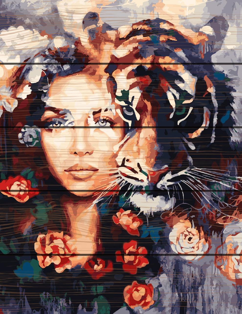 Картина по номерам на дереве 40*50см. Глаза тигра Rainbow Art GXT23607 в подарочной коробке