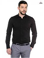 Модна сорочка чоловіча класична з довгим рукавом, чорна