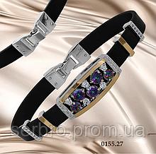 Каучуковый браслет серебро с золотом и цирконами Грэсия