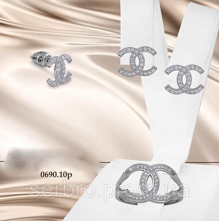 Срібний родироанный набір з цирконами Шанель