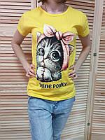Футболка женская лето Котенок Турция (белый,черный,кэмел,красный, серый,желтый,розовый,минт, голубой) оптом, фото 1