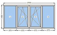 Окно металлопластиковое WDS 5S (2700 х 1400 мм)