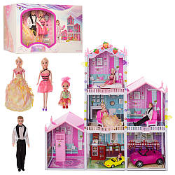Трехэтажный кукольный домик Bellina 66928с куклами транспортом и мебелью