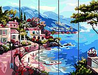 Картина по номерам на дереве 40*50см. Морская бухта  Rainbow Art RA14 в подарочной коробке