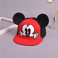 Дитяча кепка снепбек з вушками Міккі Маус з прямим козирком Червона 1, Унісекс