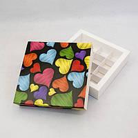 Коробка для 16 конфет, макаронс, кейк-попсов 145*145*29 мм. с ложементом СЕРДЕЧКИ, фото 1