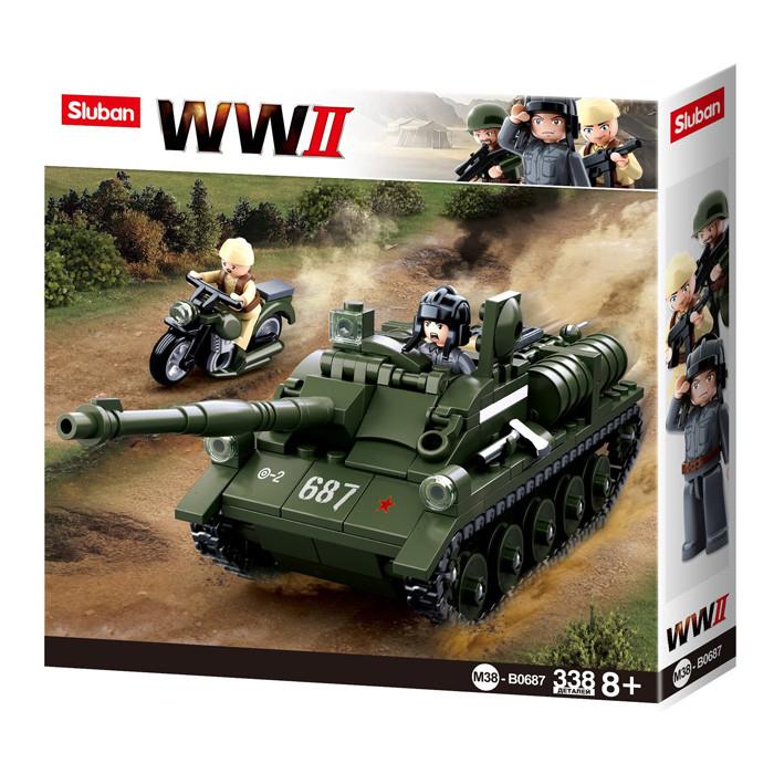 """Конструктор Sluban M38-B0687 """"Танк і мотоцикл"""" із серії """"Армія"""" 338 деталей"""