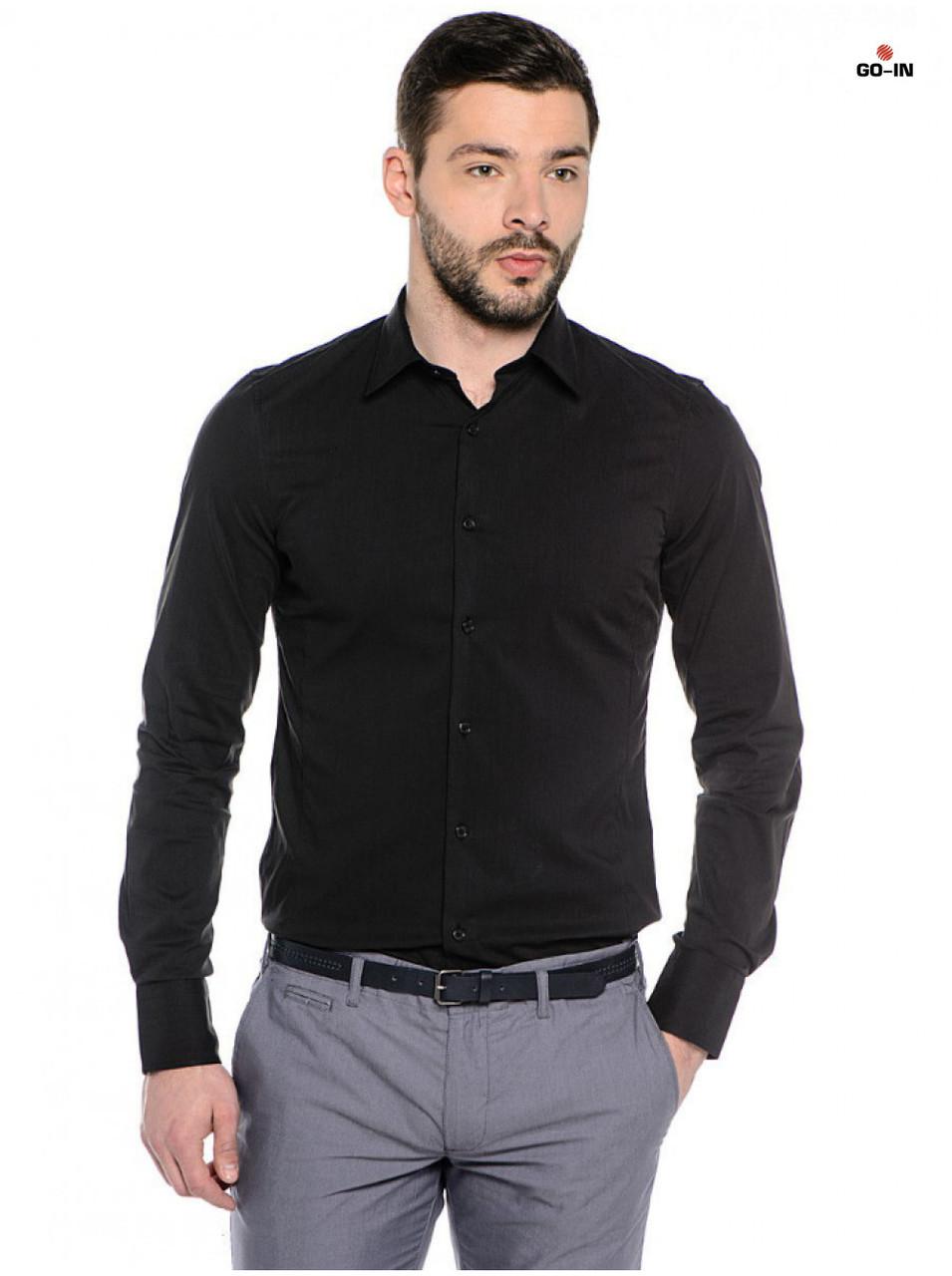 Модная рубашка мужская классическая с длинным рукавом черная