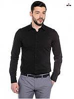 Модная рубашка мужская классическая с длинным рукавом черная, фото 1