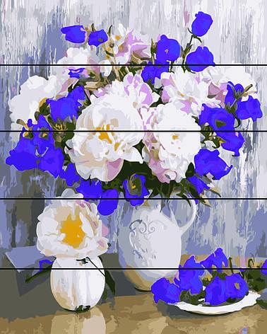 Картина по номерам на дереве 40*50см. Букет в белой вазе  Rainbow Art RA0229 в подарочной коробке, фото 2