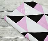 Лоскут ткани с большими треугольниками чёрного и розового цвета (№ 796), размер 40*80 см, фото 2