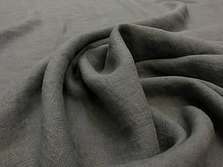 Серая льняная ткань, 100% лен, цвет 123, CRASH EFFECT