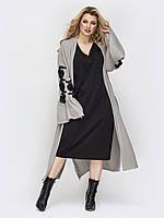 Черное платье ниже колена +кардиган серый удлиненный 50-52 54-56 58-60