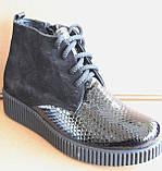 Черевики жіночі шкіряні чорні туфлі на танкетці від виробника модель БР1012Д, фото 2