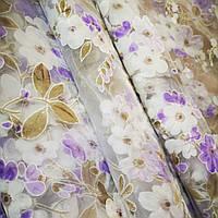 Тюль цветочная белая с сиреневым