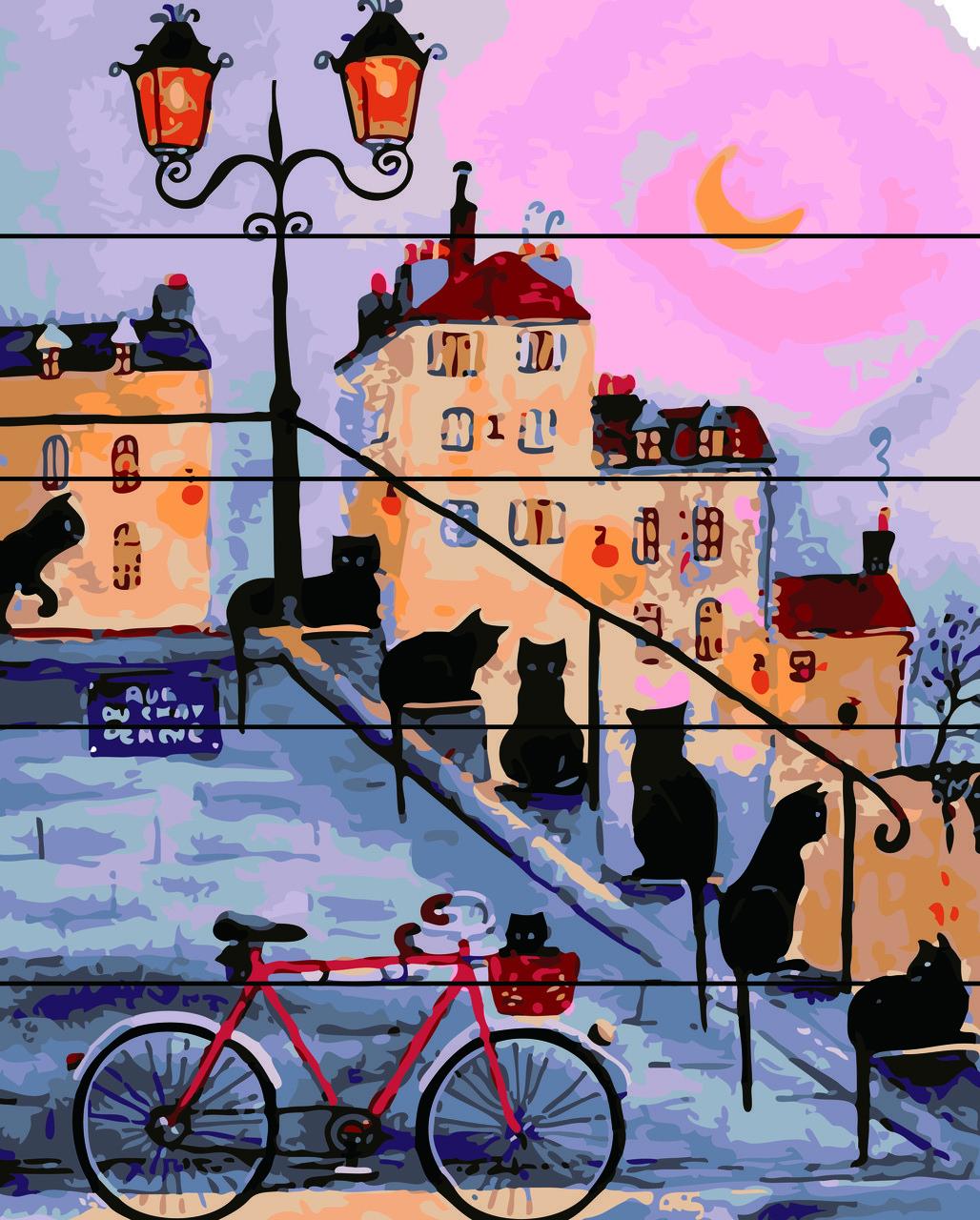 Картина по номерам на дереве 40*50см. Коты на ступеньках  Rainbow Art RA0142 в подарочной коробке
