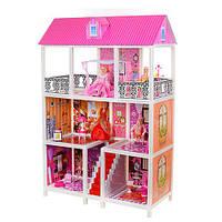 Трехэтажный кукольный домик Bellina 66885 с куклами и мебелью