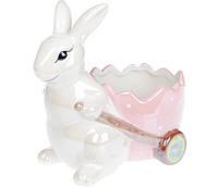 Кашпо для декоративных композиций Зайчик с тележкой, 22,5см, цвет - розовый перламутр 733-314