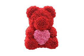 Мишка из роз Teddy Rose 40 см Красный с розовым сердцем (73)