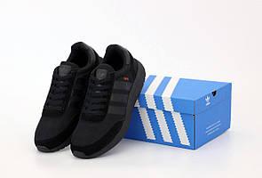 Мужские черные кроссовки Adidas Iniki Runner Triple Black (Адидас Иники Раннер весна/лето 41-45)