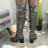 Ботфорты на каблуке серые со старазами. Зимние на меху., фото 2