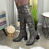 Ботфорты на каблуке серые со старазами. Зимние на меху., фото 3