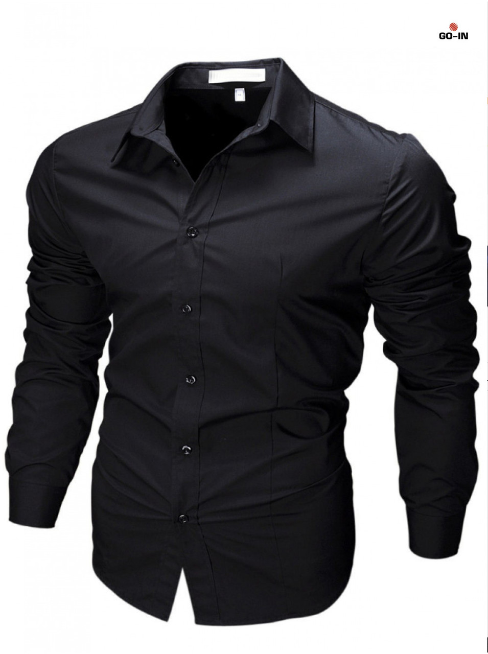 Приталенная рубашка мужская черная с длинным рукавом однотонная