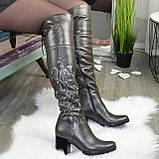 Ботфорты на каблуке серые со старазами. Зимние на меху., фото 4